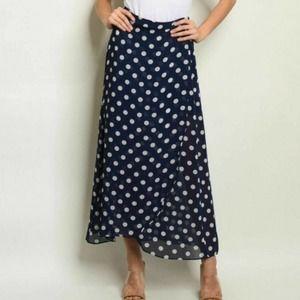 Polka Dot Navy & White Maxi Skirt Size Medium